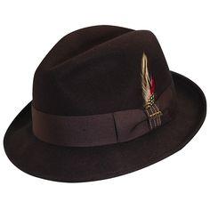 adb17685d21 Crushable Water Repellent Wool Felt Fedora Hat - Chocolate - CI11O5MUTEN