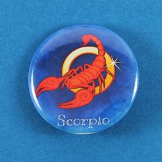 "Scorpio Zodiac/Horoscope Pin Back Button 1.25"" by BadgesbyDragonfly on Etsy"
