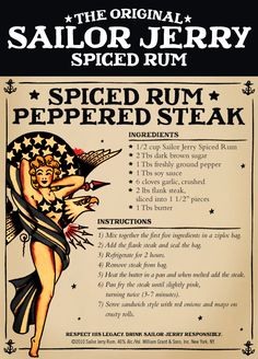 The Original Sailor Jerry Spiced Rum Spiced Rum Peppered Steak Rum Recipes, Steak Recipes, Cooking Recipes, Smoker Recipes, Cocktail Recipes, Sailor Jerry Rum, Pepper Steak, Spiced Rum, Gastronomia