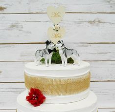 Siberian Husky Dog Wedding Cake Topper Animal Pet Cake   Etsy Dog Cake Topper Wedding, Wedding Cakes, Dog Wedding, Wedding Day, Siberian Husky Dog, Ivory Roses, Cake Toppings, Paper Roses, Bride Groom