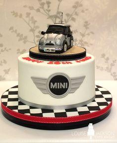 Mini car cake with chequered board and mini logo Fondant Cake Tutorial, Fondant Cakes, Cake Fondant, Fondant Figures, Mini Tortillas, Cupcakes, Cupcake Cakes, Mini Cooper Cake, Car Cakes For Men