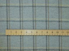 Duck Egg wool tartan tweed check curtain fabric with ruler
