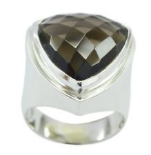 Smoky Quartz 925 Sterling Silver Ring magnetic Brown gemstone AU KMOQ