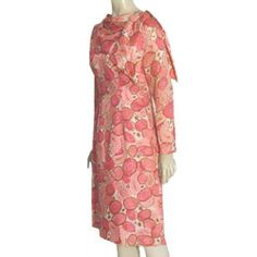 1950s Janettes Vintage Pink Paisley Floral Dress Rhinestone Buttons