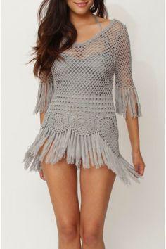 Crochetemoda: Blusa de Crochet com Franjas