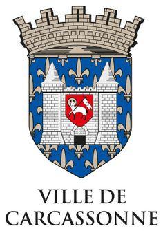 Blason de Carcassonne, réunissant la Cité et la Bastide.