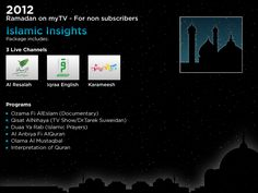 Our Islamic Insights package is a smart combination of religious Channels and Video on Demand featuring the prominent Islamic scholar Sheikh Shaarawi as well as Dr.Tareq Sweidan and many more!!     http://www.my-tv.us/MainMenu/Products/Special_Offers