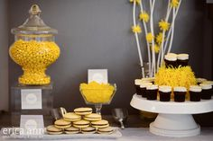 Beautiful yellow, white and grey candy buffet at Bella Via Venue.  Images by Erica Ann Photography, Candy Buffet Design by Fancy That