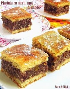 Placinta cu mere, nuci si stafide o placinta clasica cu mere dar imbunatatita cu nuci si stafide. No Cook Desserts, Apple Desserts, Sweets Recipes, Vegan Desserts, Delicious Desserts, Cake Recipes, Yummy Food, Romanian Desserts, Romanian Food