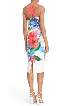Free shipping and returns on Ted Baker London 'Alexie' Floral Print Midi Dress at Nordstrom.com. Gleaming golden hardware accents the wide crisscrossing straps of a curve-hugging midi dress covered in a stunning floral print. Plus Size Bridesmaid, Floral Bridesmaids, Nordstrom Dresses, Fit And Flare, Ted Baker, Floral Prints, Summer Dresses, Skirts, How To Wear