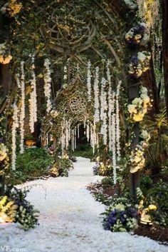 stunning wedding walkway idea with lights