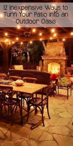 12 INEXPENSIVE WAYS TO TURN YOUR PATIO INTO AN OUTDOOR OASIS -- I can't wait for summer nights outside!!
