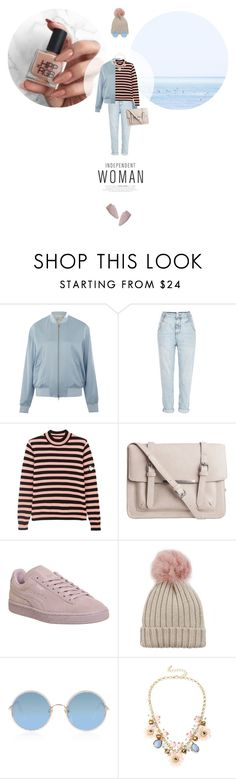 """// 1216. Independent Woman."" by lilymcenvy ❤ liked on Polyvore featuring T By Alexander Wang, River Island, Shrimps, Pieces, Puma, Jocelyn, Sunday Somewhere and Mixit"