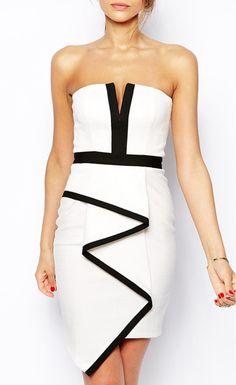 $18.00 White Bandeau Waterfall Evening Dress