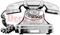 Scrapbookdepot - Classic Telephone Deep Red Cling Rubber Stamp