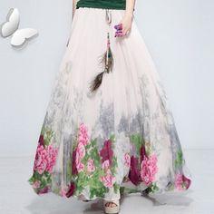 Прорезиненная тесьма на поясе богемный перо украшение печать шифон юбка длинная женщины в юбки