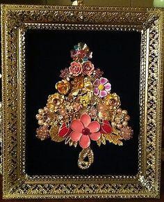 Framed Vintage Jewelry Art - Christmas Tree w/Flowers, Birds, Bees, Butterflies on eBay