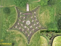 A great shot of the maze at Scone Palace in Scotland. The outer circle design of Adrian Fisher (the only one of its kind?) is perhaps his finest work to date. Two colours of hedge suggest tartan. One of the finest maze designs in the world.  Maze aerial photography by Cyberhawk Innovations, via Flickr