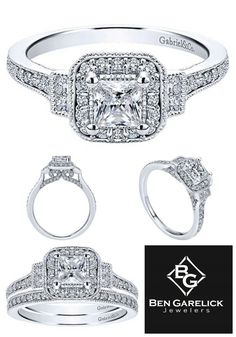 Fit for a Princess, This Gabriel 14K White Gold Pre-Set Princess Cut Diamond Halo Engagement Ring is Gorgeous no Matter How You Look at it. Available at Ben Garelick and BenGarelick.com