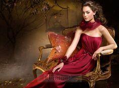 Modest A-line Strapless Floor-length Elastic Woven Satin Coral Bridesmaid Dresses $262.99 Bridesmaid Dresses