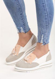 Mocasini cu platforma Iliyana Gri Slip On, Office Outfits, Sneakers, Korean, Shoes, Fashion, Tennis, Moda, Slippers