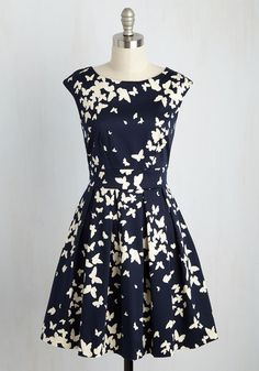 Fluttering Romance A-Line Dress in Butterfly Silhouettes. Ah, that familiar pitter-patter of the heart you feel after slipping into this butterfly-print frock by Closet London! #blue #modcloth