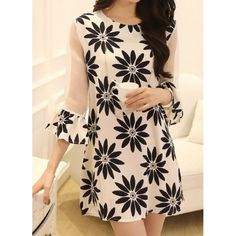3/4 Sleeve Round Collar See-Through Design Floral Print Wide Hem Dress