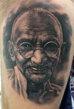 Portrait of Mahatma Gandhi Tattoo