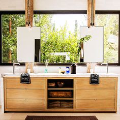Master bath - Ranch House Design Ideas to Steal - Sunset - love the way the sink hardware is set - unsual