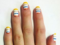 Striped nail art inspired by the Marc by Marc Jacobs Spring 2011 runway show