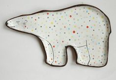 Bear plate polar bear ceramic plate with polka dot by clayopera, $35.00