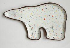 Bear plate  polar bear ceramic plate with polka dot by clayopera, $35.00