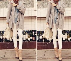 Love the neutrals, chambray, chunky grandpa cardigan and the bag!