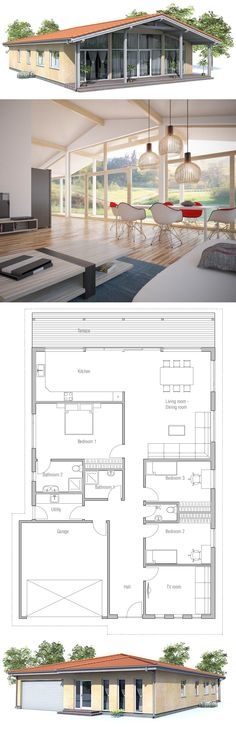 Small House Plan to narrow lot. Small home design with vaulted ceiling in the living area, covered terrace, three bedrooms. **note** turn the TV room into another bedroom and half bath into a closet/pantry. House Plans One Story, Best House Plans, Story House, Modern House Plans, Small House Plans, Kitchen Floor Plans, House Floor Plans, Small House Design, Little Houses