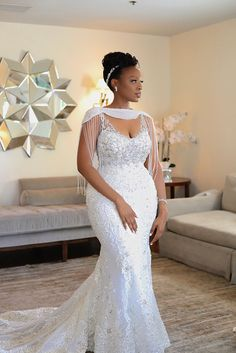 2019 Luxury African Off Shoulder Mermaid Wedding Dress With Tassels Vintage Black Girl Plus Size Aso Ebi Lace Styles, Lace Dress Styles, African Lace Dresses, Latest African Fashion Dresses, Dress Fashion, Lace Styles For Wedding, Plus Wedding Dresses, Elegant Wedding Dress, Bridal Dresses