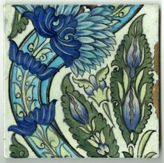 India Tile | The De Morgan Foundation India Tile Museum Number: C_WDM_T0366 Dimensions: 229mm Height, 230mm Width Keywords: Flowers, Leaves, Scroll Dates: 1888 - 1897 Marks / Inscriptions: WM. DE MORGAN & Co, Sand's End Pottery, Fulham