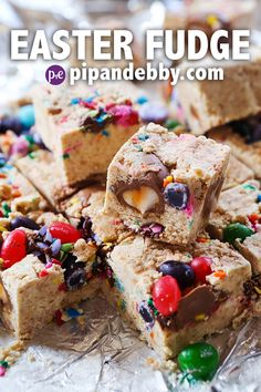 This Easter Candy Fudge is a festive and EASY treat to make this spring! Great way to use up leftover Easter candy, too!