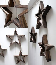 star-of-wood-crafts-for-creative-wall-design-im rustikalen stil - Diy-homesproject. Diy Projects To Try, Wood Projects, Woodworking Projects, Project Ideas, Wooden Crosses, Wooden Stars, Style Rustique, Creative Walls, Creative Design