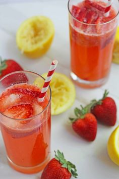 Strawberry Lemonade- the perfect summer drink with a bit of sparkle!