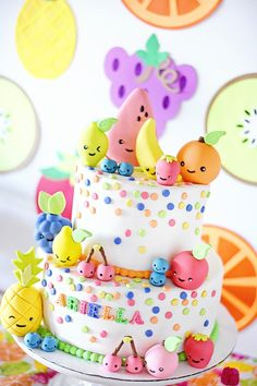 This cake is GORGEOUS! >> Kawaii Fruit Cake Toppers by Les Pop Sweets - Project Nursery