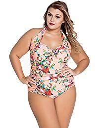 98aca2769e3 Womens Retro Vintage One Piece Swimwear Floral Monokinis Plus Size Plus  Size Tankini, Plus Size
