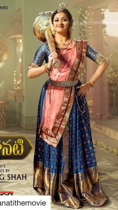 Mahanati: A Tollywood Ode To Timeless Fashion Half Saree Designs, Saree Blouse Neck Designs, Fancy Blouse Designs, Beautiful Girl Indian, Most Beautiful Indian Actress, Indian Designer Outfits, Indian Outfits, Saree Wearing Styles, Lehnga Dress