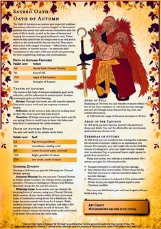 'Sacred Oath: Oath of Autumn' // embody the season of fall with this new Paladin subclass : DnDHomebrew Dungeons And Dragons Homebrew, D&d Dungeons And Dragons, Dnd Characters, Fantasy Characters, Dnd Paladin, Dnd Dragons, Dungeon Master's Guide, Dnd Classes, Dnd Races