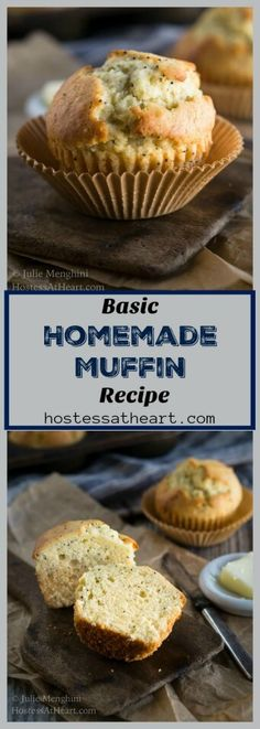Homemade Basic muffins are so soft and tender. They're quick and easy to make and taste as though they came from your favorite bakery. #muffins #baking #homemade #comfortfood #easymuffin | How to bake muffins | muffin varieties | | Easy Muffins Recipe | Breakfast Recipes via @HostessAtHeart