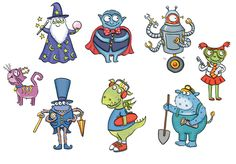 monsters, characters, cartoons, dragon, cat, robot, children's illustrations, by Kate Daubney, kids illustration