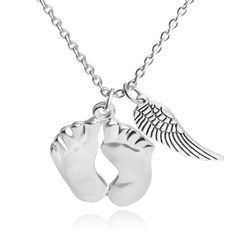 Mother's day gift Fashion Silver Color Little feet Wing Charm Necklace Baby Foot Link Chain necklaces & pendants