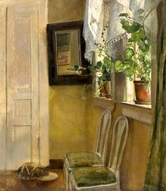 ◇ Artful Interiors ◇ paintings of beautiful rooms - EILIF PETERSSEN Interior with Cat
