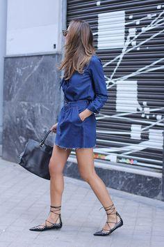 Denim Skirt + Shirt + Lace Up Flats - Zara, Saint Laurent Bag http://FashionCognoscente.blogspot.com