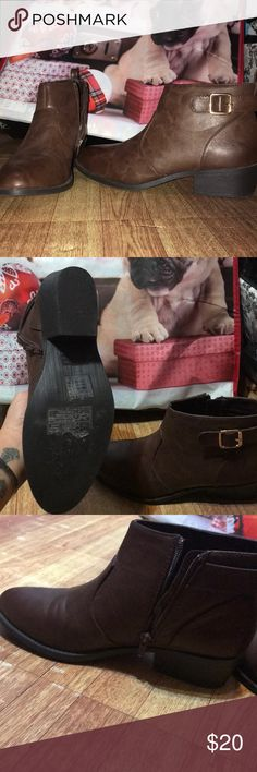 Brown Zip up Booties From Forever21 These boots were only worn once! Great condition. They have inner zipper, and outer faux buckle. Looks and feels just like real leather!! Forever 21 Shoes Ankle Boots & Booties