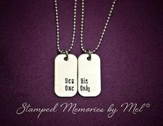 Her One His Only Mini Dog Tag Set  Hand by StampedMemoriesbyMel, $32.00